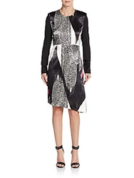 Reed Krakoff Printed Front Asymmetrical Hem Dress Black White