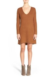 Hinge V Neck Sweater Dress Brown