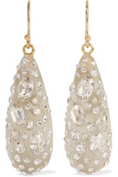 Alexis Bittar Gold Tone Enamel And Glass Earrings Ivory