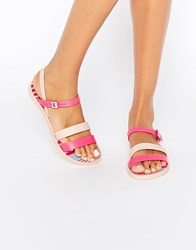 Zaxy Urban Strappy Flat Sandals Pink Nude