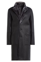 Joseph Sheepskin And Leather Coat Grey