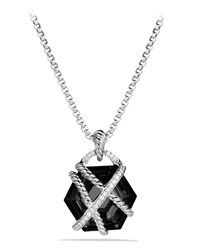 Cable Wrap Pendant With Black Onyx And Diamonds On Chain Silver David Yurman