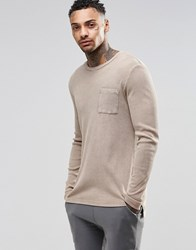 Asos Rib Longline Long Sleeve T Shirt With Acid Wash And Step Hem Camel Brown