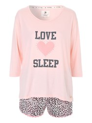 Jane Norman Love Sleep Animal Short Nightwear Pj Set Grey Marl