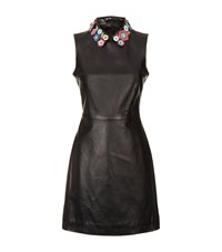 Red Valentino Floral Collar Leather Dress Female Black