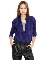 Etoile Isabel Marant Cropped Checked Light Wool Flannel Shirt