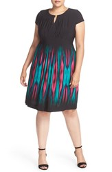 Tahari Plus Size Women's Print Jersey Keyhole Neck Sheath Dress Black Fuchsia Teal