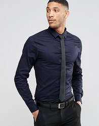 Asos Skinny Shirt In Navy With Long Sleeves And Black Tie Save 15 Navy