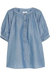 Mih Jeans Circle Linen And Cotton Blend Chambray Top Blue