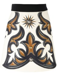 Fausto Puglisi Printed Mini Skirt Nude And Neutrals