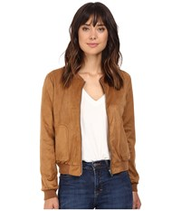Bb Dakota Finley Soft Faux Suede Bomber Camel Women's Coat Tan