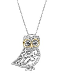 Lord And Taylor Diamond Owl Pendant In Sterling Silver With 14K Yellow Gold Gold Silver