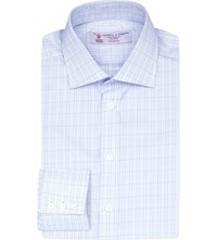 Turnbull And Asser Regular Fit Checked Cotton Shirt Sky White