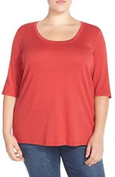 Plus Size Women's Sejour Elbow Sleeve Scoop Neck Tee Red Beauty