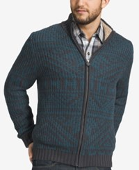 G.H. Bass And Co. Men's Jacquard Full Zip Sweater Teal Heahter