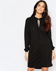 Warehouse Long Sleeve Tie Neck Dress Black