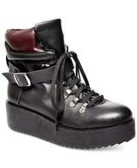 Steve Madden Women's Hiking Flatform Boots Women's Shoes Black Leather
