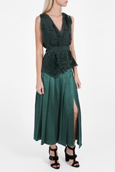 Rochas Silk Pleated Skirt Green
