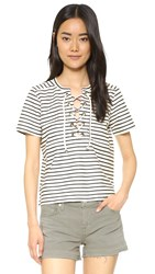 Madewell Striped Lace Up Top Bright Ivory