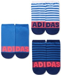 Adidas Women's 3 Pk. Striped No Show Socks Medium Blue