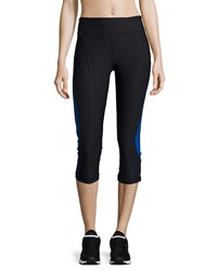 Ki Pro Two Tone Cropped Leggings Black Electric Blue
