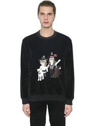 Dolce And Gabbana Designers Patches Velvet Sweatshirt