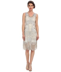 Unique Vintage The Bosley Beaded Fringed Flapper Dress Silver Women's Dress