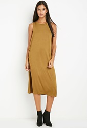 Forever 21 Twist Neckline Layered Dress Light Olive