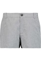 James Perse Slubbed Linen And Cotton Blend Shorts Gray