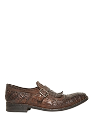 Harris Washed Croc Side Monk Strap Shoes Brown
