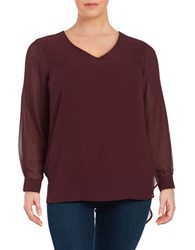 Vince Camuto Plus Hi Lo Semi Sheer Long Sleeve Top Raisin