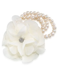 Carolee Catch The Bouquet Freshwater Pearl Flower Bracelet White Silver