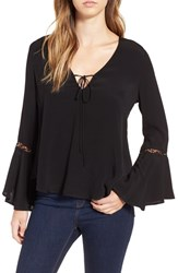 Astr Women's Crochet Trim Bell Sleeve Top