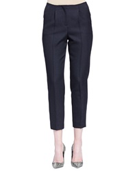 Lanvin Pleated Slim Fit Cropped Pants Black