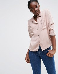 Asos Batwing Slouchy Shirt With Pockets Pink