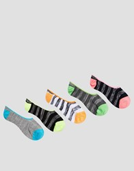 Asos Invisible Socks With Stripes And Neon Detail 5 Pack Multi