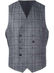 Tagliatore Checked Double Breasted Waistcoat Grey