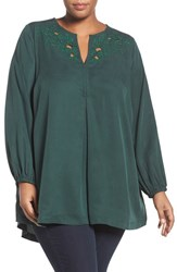 Melissa Mccarthy Seven7 Plus Size Women's Cutout Detail Embroidered Split Neck Blouse