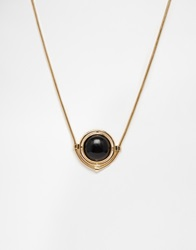 Warehouse Circle Stone Pendant Necklace Goldblack