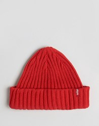 Levi's Ribbed Beanie In Red Red