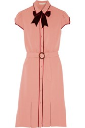 Alice Olivia Carie Velvet Trimmed Crepe Dress Antique Rose