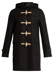 Saint Laurent Hooded Toggle Fastening Wool Overcoat Black