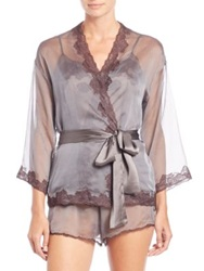 Josie Natori Sheer Lace Trim Wrap Dark Grey