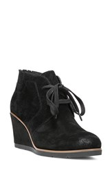 Franco Sarto Women's 'Austine' Lace Up Wedge Bootie Black Suede