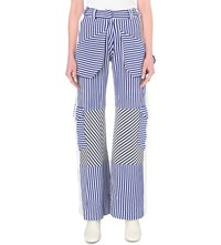 Richard Malone Stripe Print Knitted Trousers Electric Blue White