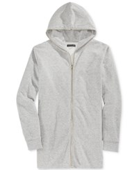 Jaywalker Men's Long Length Full Zip Hoodie Heather Grey