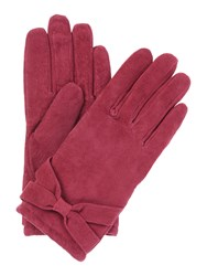Isotoner Suedette Glove With Bow Detail Berry