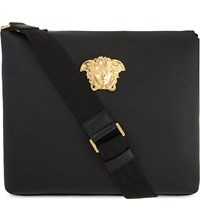 Versace Medusa Grained Leather Messenger Black Gold