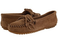 Minnetonka Kilty Suede Moc Taupe Suede Women's Moccasin Shoes