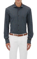 Barneys New York Men's Plaid Plain Weave Shirt Tan